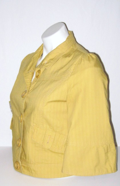 Forever 21 Crop Lined Feminine Yellow Jacket