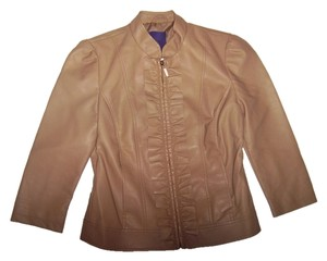 Forever 21 Faux Leather Three-quarter Sleeve Puff Sleeve Ruffle Zippered Fall Autumn Spring Summer Tan Leather Jacket