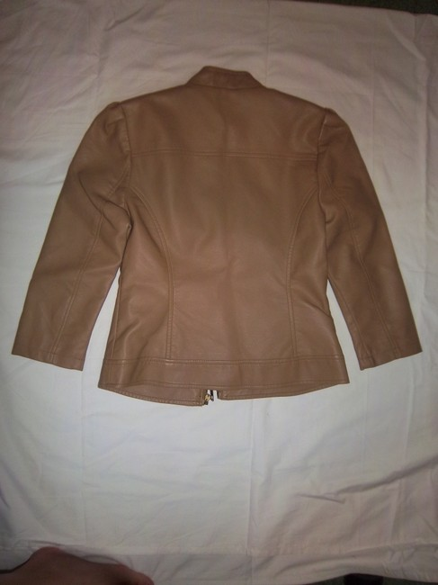 Forever 21 Faux Three-quarter Sleeve Puff Sleeve Ruffle Tan Leather Jacket