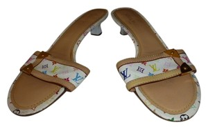 Louis Vuitton WHITE MURAKAMI MULTI-COLOR LOGO Mules