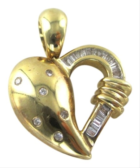 Other 14K SOLID YELLOW GOLD PENDANT HEART 25 GENUINE DIAMONDS .87 CARAT LOVE JEWELRY