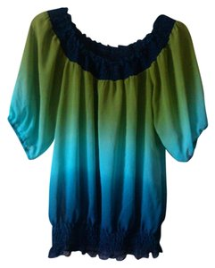 Soulmates Puffy Tie Dye Ombre Aqua Sheer Poly Casual Teal Faded Fading Gradient Top blue, green