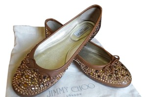 Jimmy Choo Brown Ballet Flat Tan Flats