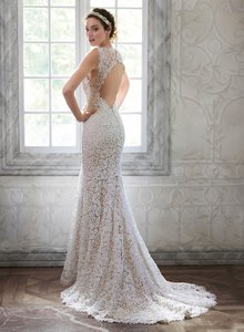 Maggie Sottero Ivory Lace Over Light Gold Breanna Sexy Wedding Dress Size 8 (M)