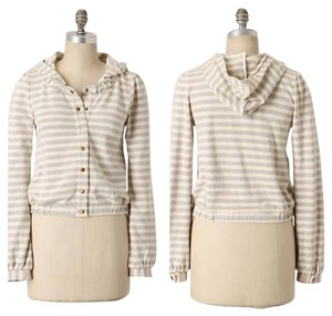 Anthropologie Saturday Sunday Linear Edit Hoodie Stripes Removable Buttons Jacket