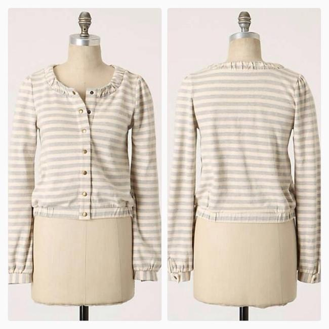 Anthropologie Saturday Sunday Linear Edit Hoodie Stripes Removable Buttons Jacket Image 1