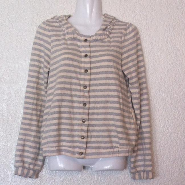 Anthropologie Saturday Sunday Linear Edit Hoodie Stripes Removable Buttons Jacket Image 2