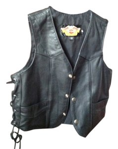 Harley Davidson Ladies Black Harley Davidson Leather Vest