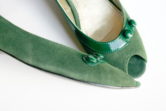 DRU New York Suede Patent Leather Green Flats