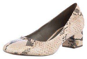 Tory Burch Animal Print Snakeskin Leather Embossed Logo Signature Gold Casual Dressy Heels Comfortable Monogram Cream Pumps