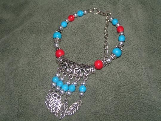 Native Tribal Turquoise Silver Red Feather Dangle Bracelet Free Shipping