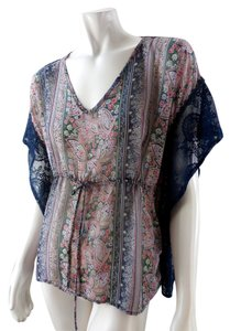 Paper Crane Gypsy Lacey Peasant Sheer Flowey Casual 2012 Nordstrom Top Blue
