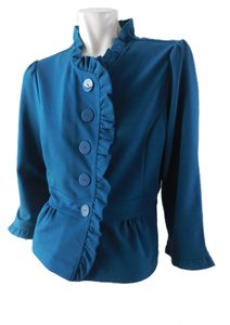 Halogen Skirted Stretchy Button Up Peacock Blue Jacket