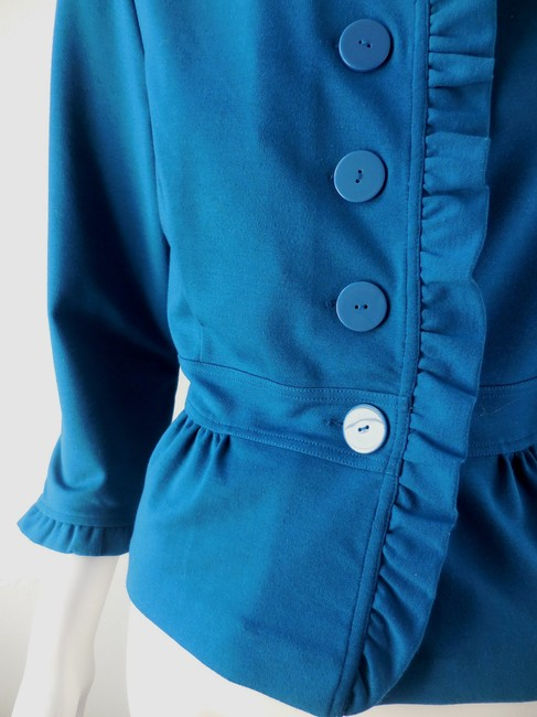 Halogen Skirted Stretchy Button Up Lightweight 2013 Peacock Blue Jacket