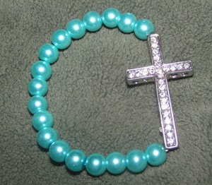 Blue Pearl Rhinestone Sideways Cross Bracelet Free Shipping