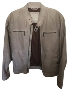 Zara Man Leather Leather Gray Off white Leather Jacket