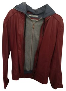 Zara man Red - grey Leather Jacket