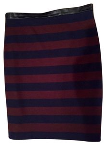 Club Monaco Mini Skirt Navy & Purple with Leather Accents