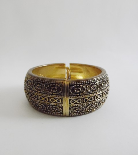 Other Big and Bold Scroll Design Hinged Bangle Fits 7 to 8 Inch wrists