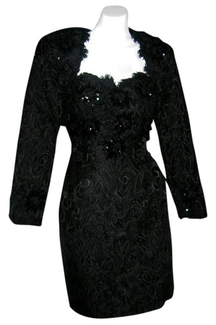 Preload https://item4.tradesy.com/images/black-beaded-lace-sequin-brocade-bustier-bolero-jacket-above-knee-formal-dress-size-4-s-511483-0-0.jpg?width=400&height=650