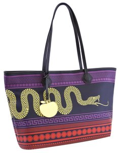 Jonathan Adler Dutchess Icon Iconic Snake Serpent Serpentine Greek Key Coated Canvad All Weather Dance Gym Beach Shopping La Tote in Multi