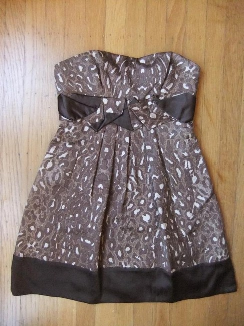BCBG Leopard Strapless Brown Dress