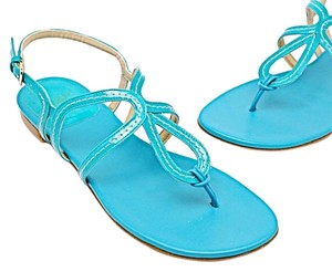 Stuart Weitzman Eyespy Thong Patent Leather Turquoise Sandals