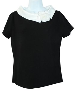 PINK POODLE White Trim Floret Knit Black Top