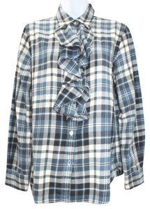 Ralph Lauren Ruffle Plaid Button Down Shirt