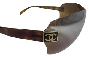 Chanel Glam Shield Wrap Tortoise Sunglasses