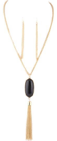 Other Tassel Black Oval Pendant Necklace