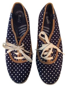 Madewell Navy and White Polka Dot Flats