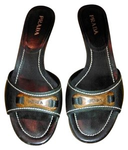 Prada Leather Black Sandals