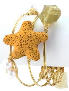 Other Starfish Gold and Yellow Set of 3 Bangle Bracelets