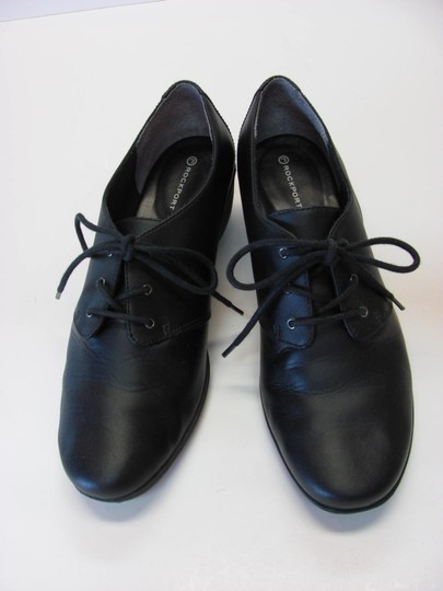 Rockport Excellent Condition Leather Size 8 M Black Wedges