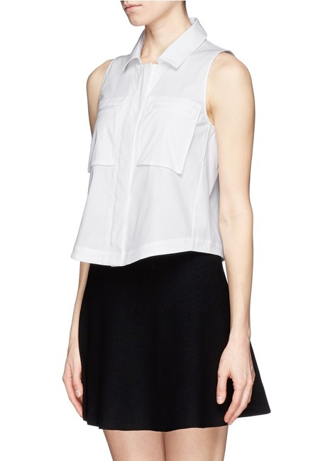 Theory Sleeveless Crop Summer Top White