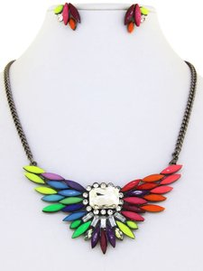 Rainbow Acrylic and Clear Crystal Necklace Set