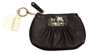 Coach coach black leather key ring