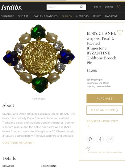 Chanel CHANEL RARE '93A GOLD PLATED GRIPOIX GLASS PEARL CRYSTAL BROOCH