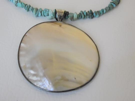 Mine Finds by Jay King Mine Finds by Jay King DTR Sterling Silver Mother of Pearl Shell Oval Pendant with Turquoise Chip Necklace 18