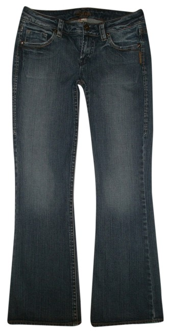 Silver Jeans Co. * 5 Pocket Style * Zip Fly * Low Rise * Distressing Detail Boot Cut Jeans-Dark Rinse