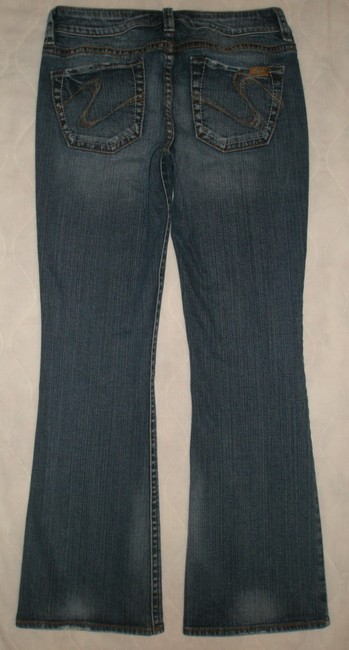 Silver Jeans Co. * 5 Pocket Style * Zip Fly * Low Rise * Distressing Detail Boot Cut Jeans-Dark Rinse Image 1
