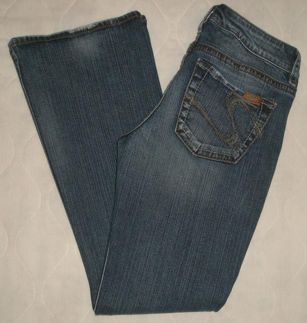 Silver Jeans Co. * 5 Pocket Style * Zip Fly * Low Rise * Distressing Detail Boot Cut Jeans-Dark Rinse Image 2