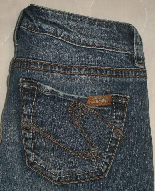 Silver Jeans Co. * 5 Pocket Style * Zip Fly * Low Rise * Distressing Detail Boot Cut Jeans-Dark Rinse Image 3
