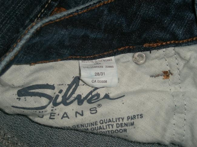 Silver Jeans Co. * 5 Pocket Style * Zip Fly * Low Rise * Distressing Detail Boot Cut Jeans-Dark Rinse Image 4