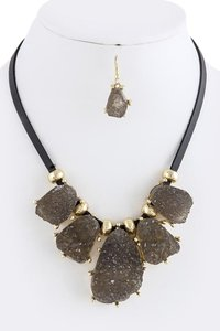 Faux Gray Druzy Bib Necklace Set