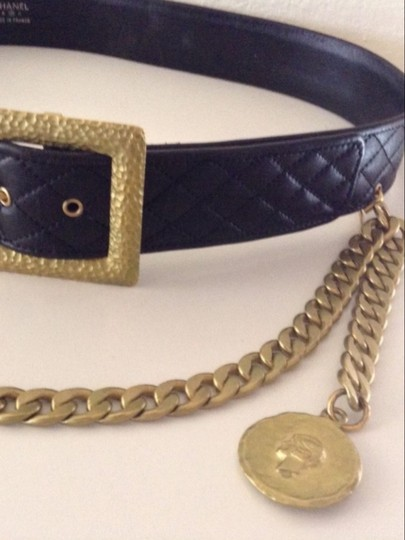Chanel CHANEL RARE VINTAGE '94A BLACK LEATHER DIAMOND QUILTED BELT