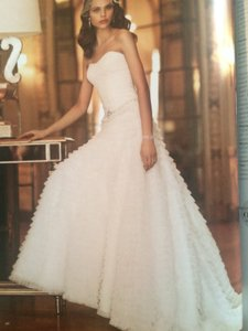 David's Bridal Ivory Tull Tiered Ball Gown Wedding Dress Size 4 (S)