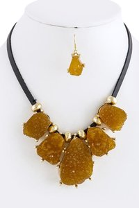 Other Faux Brown Druzy Bib Necklace Set