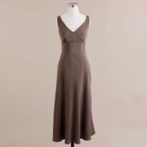 J.Crew Brown Silk Sophia In Tricotine Bridesmaid/Mob Dress Size 14 (L)